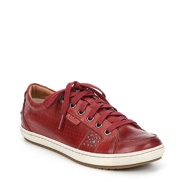 タオスフットウェア レディース スニーカー シューズ Freedom Leather Studded Sneakers Red
