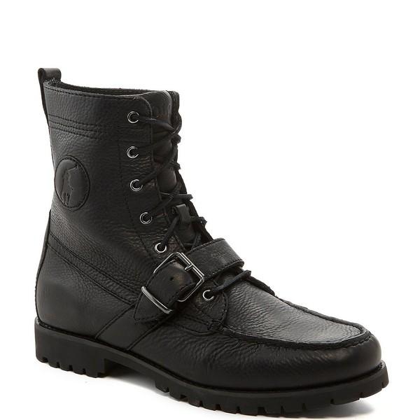 ラルフローレン メンズ ブーツ&レインブーツ シューズ Men's Ranger Leather Buckle Boots Black