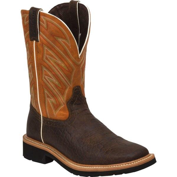 ジャスティンブーツ メンズ ブーツ&レインブーツ シューズ Justin Men's Stampede Square Toe Western Work Boots Brown
