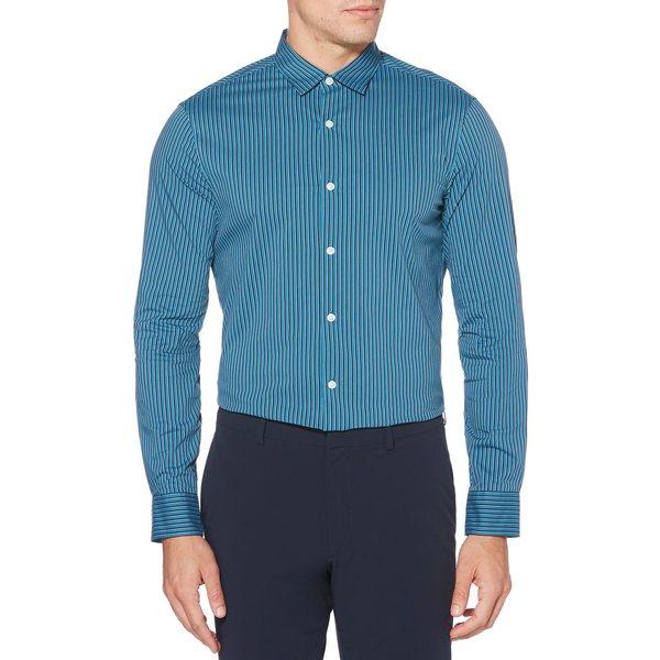 ペリーエリス メンズ シャツ トップス Slim-Fit Striped Shirt Turkish Tile
