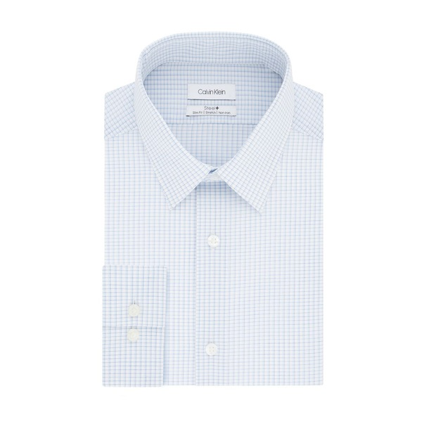 カルバンクライン メンズ シャツ トップス Steel Slim-Fit Non-Iron Micro-Check Stretch Dress Shirt Blue Cloud