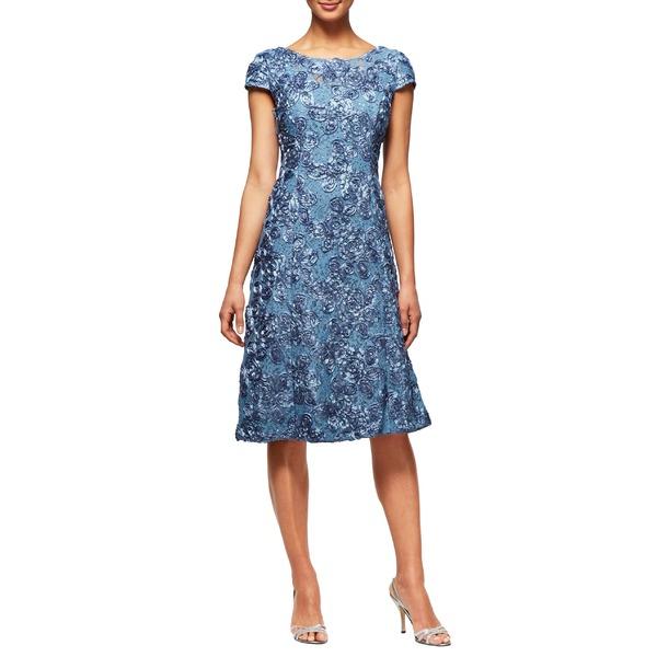 アレックスイブニングス レディース ワンピース トップス Alex Evenings Rosette Cocktail Dress (Regular & Petite) Brush Periwinkle