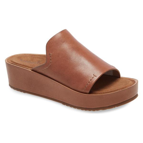 ネイキッドフィート レディース サンダル シューズ Naked Feet Reno Platform Slide Sandal (Women) Honey Leather