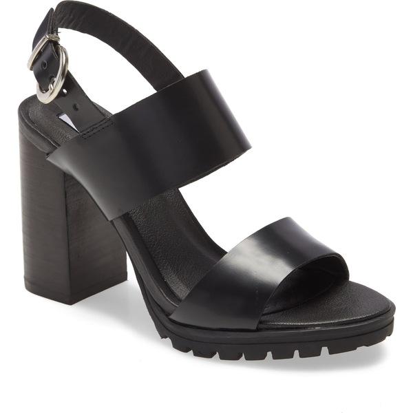 スティーブ マデン レディース サンダル シューズ Steve Madden Emil Block Heel Sandal (Women) Black Leather