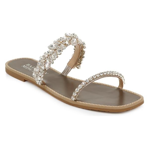 バッドグレイミッシカ レディース サンダル シューズ Badgley Mischka Jenelle Embellished Slide Sandal (Women) Champagne Nappa Leather