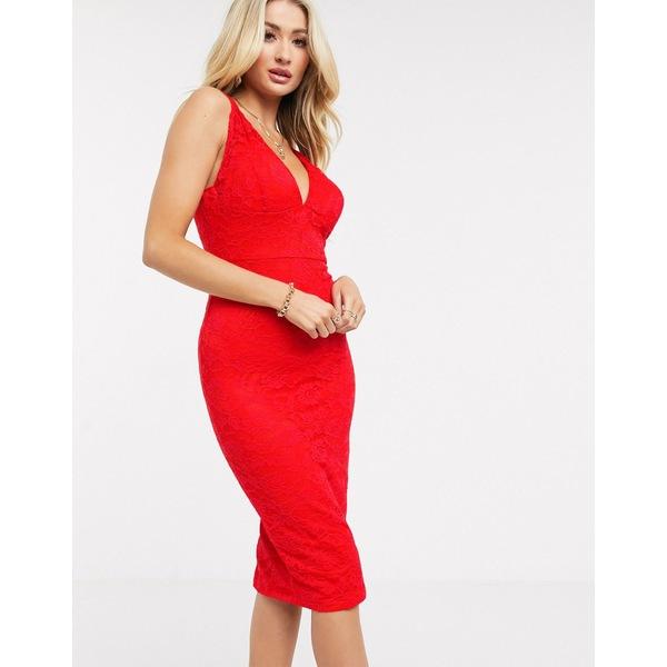 アックスパリ レディース ワンピース トップス AX Paris lace pencil dress in red Red