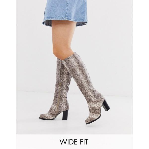 トゥラッフル レディース ブーツ&レインブーツ シューズ Truffle Collection wide fit heeled pull on boots in snake Snake