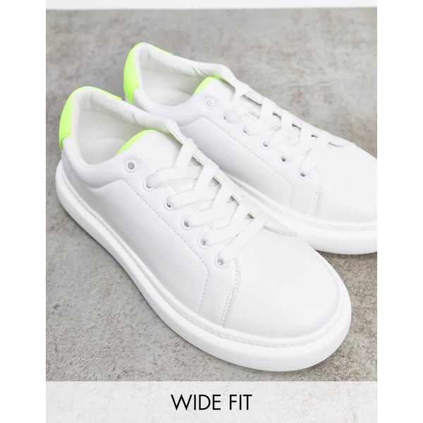 エイソス レディース スニーカー シューズ ASOS DESIGN Wide Fit Doro chunky lace up sneakers in white and lime White / lime