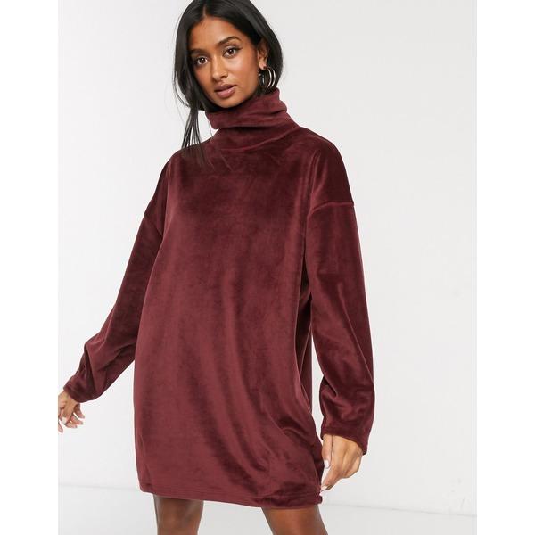 ミチャラウンジ レディース ワンピース トップス Micha Lounge brushed funnel neck sweater dress Red brown
