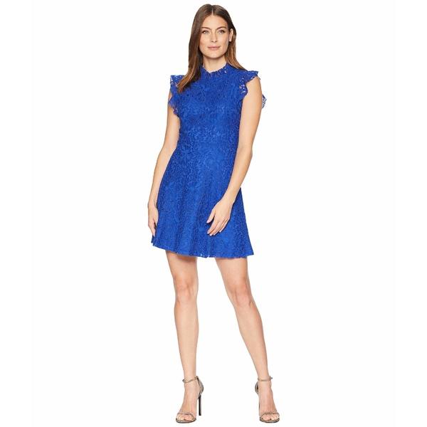 アレクシアアドマー レディース ワンピース トップス Ruffle Sleeve Fit & Flare Lace Dress Blue Mazarine