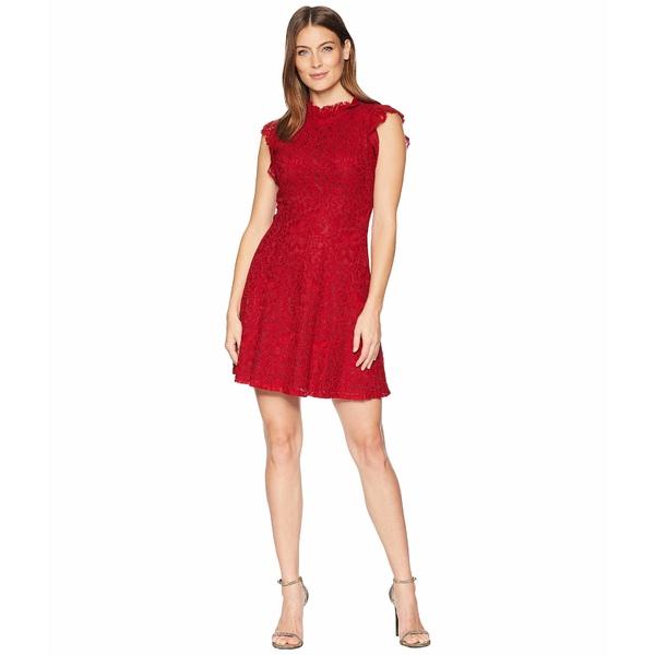 アレクシアアドマー レディース ワンピース トップス Ruffle Sleeve Fit & Flare Lace Dress Red Chili