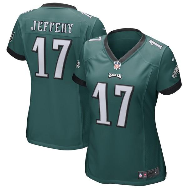 ナイキ レディース シャツ トップス Alshon Jeffery Philadelphia Eagles Nike Women's Game Jersey Midnight Green