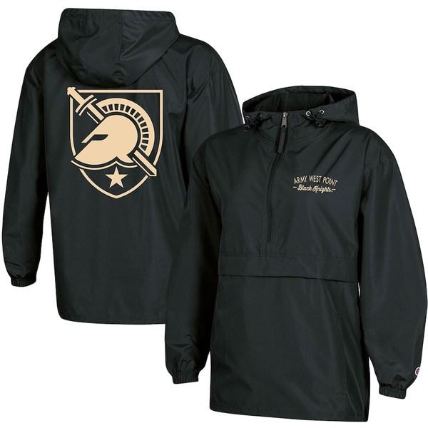 チャンピオン レディース ジャケット&ブルゾン アウター Army Black Knights Champion Women's Packable Half-Zip Light Rain Jacket Black
