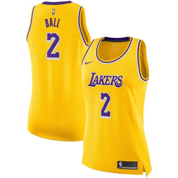 ナイキ レディース シャツ トップス Lonzo Ball Los Angeles Lakers Nike Women's Swingman Jersey - Gold Icon Edition