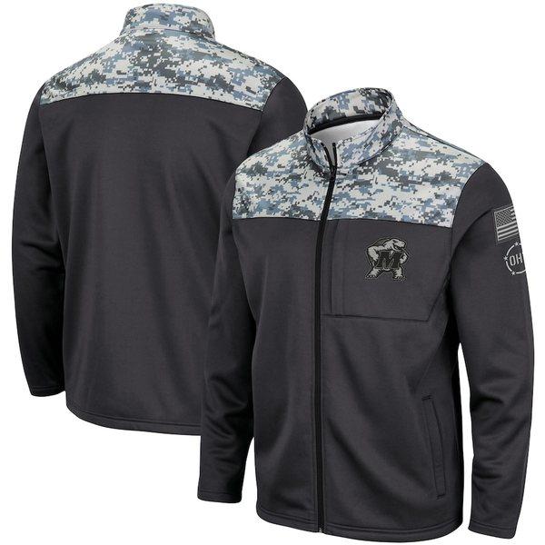 コロシアム メンズ ジャケット&ブルゾン アウター Maryland Terrapins Colosseum OHT Military Appreciation Fleece Full-Zip Jacket Charcoal