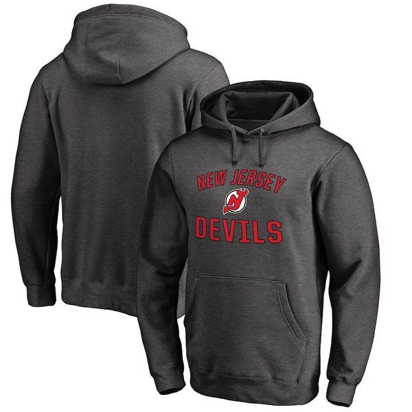 ファナティクス メンズ パーカー・スウェットシャツ アウター New Jersey Devils Fanatics Branded Victory Arch Fleece Pullover Hoodie Heathered Gray