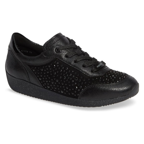 アラ レディース スニーカー シューズ ara Layla Crystal Embellished Sneaker (Women) Black Leather