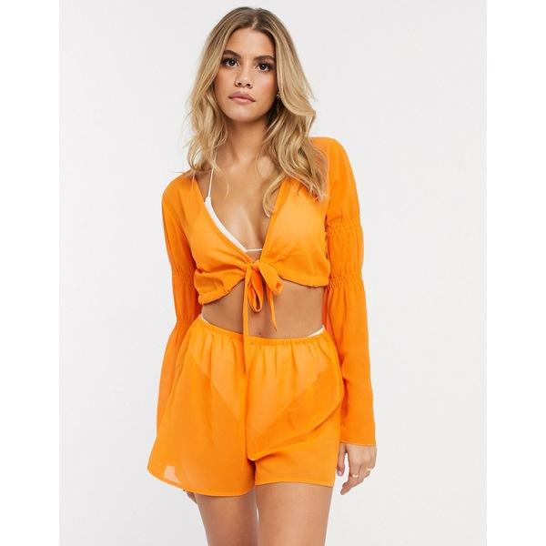 エイソス レディース ワンピース トップス ASOS DESIGN chiffon exaggerated sleeve beach wrap romper in orange pop Orange pop