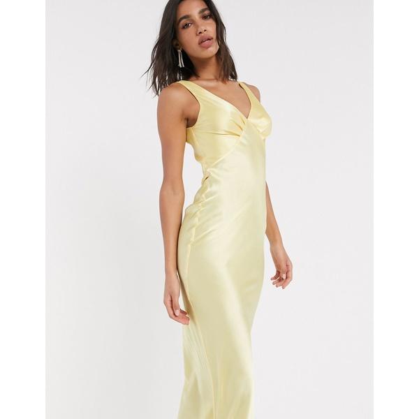 エイソス レディース ワンピース トップス ASOS DESIGN satin bias midi cami slip dress in yellow Lemon yellow