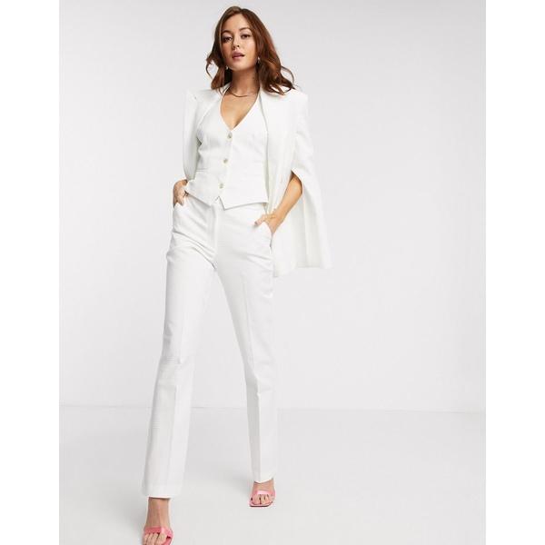 エイソス レディース カジュアルパンツ ボトムス ASOS DESIGN tapered 3 piece suit pants in texture White
