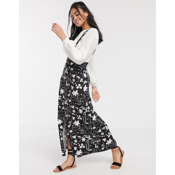エイソス レディース スカート ボトムス ASOS DESIGN city maxi pinafore skirt in mono floral print Mono floral