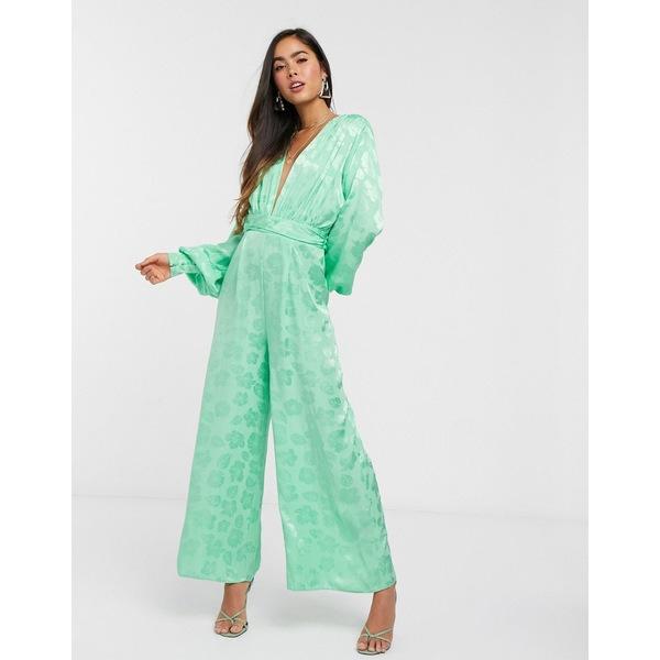 エイソス レディース ワンピース トップス ASOS DESIGN plunge jacquard jumpsuit with ruched waist detail in green Apple green