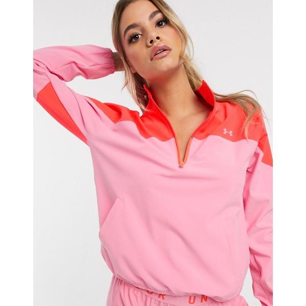 アンダーアーマー レディース ジャケット&ブルゾン アウター Under Armour Training woven color block jacket in pink Pink