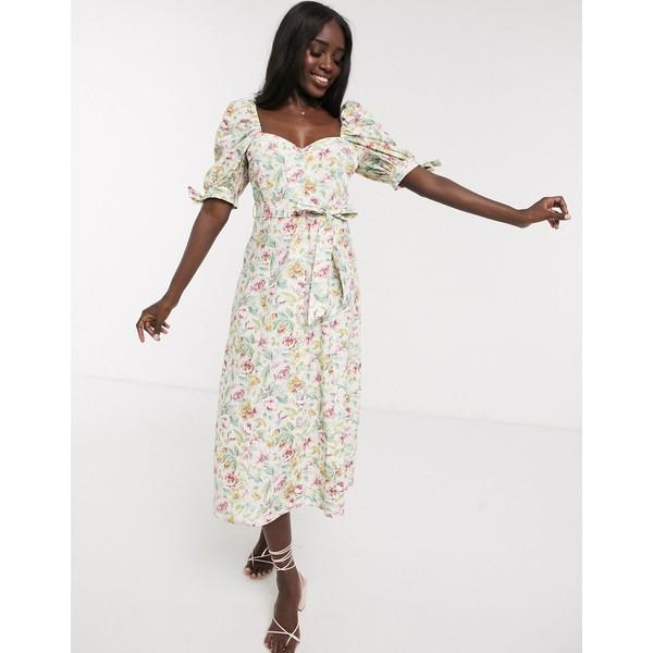 エイソス レディース ワンピース トップス ASOS DESIGN cotton poplin puff sleeve midi skater dress in ditsy floral with rhinestone buttons Green based ditsy