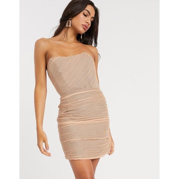 エイソス レディース ワンピース トップス ASOS DESIGN ruched bandeau mini dress Blush
