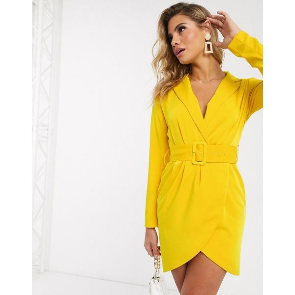 ラビッシュアリス レディース ワンピース トップス Lavish Alice tailored wrap mini dress in yellow Sunshine yellow