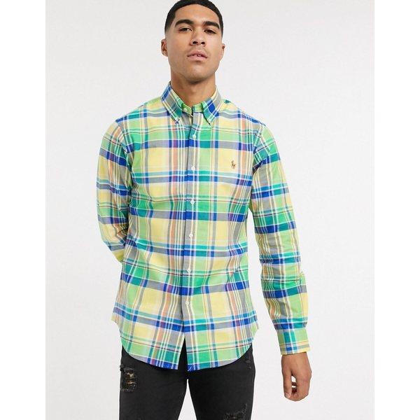 ラルフローレン メンズ シャツ トップス Polo Ralph Lauren check stretch oxford shirt slim fit in yellow/green multi Yellow