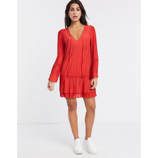 フリーピープル レディース ワンピース トップス Free People Can't Help It plisse flared sleeve dress Red