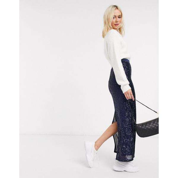エイソス レディース スカート ボトムス ASOS DESIGN sequin pencil maxi skirt in blue Blue