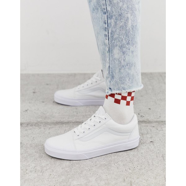 バンズ レディース スニーカー シューズ Vans Old Skool sneaker in true white Classic tumble true