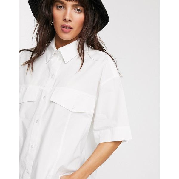 ウィークデイ レディース シャツ トップス Weekday Shayla organic cotton boxy shirt in off-white White