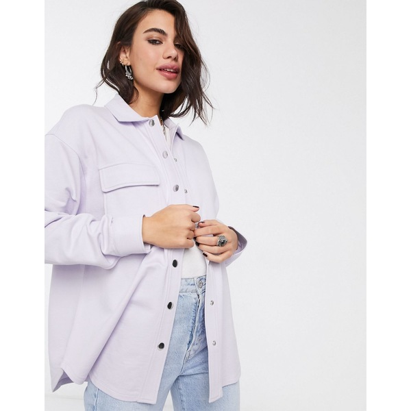 エイソス レディース シャツ トップス ASOS DESIGN oversized shirt jacket in jersey with poppers Lilac purple