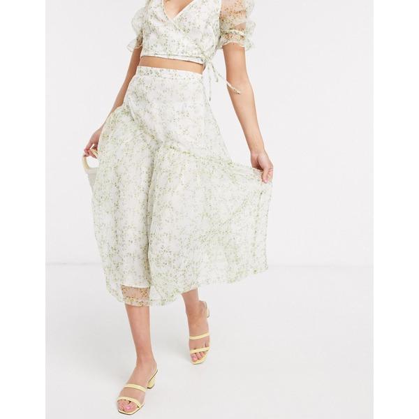 エイソス レディース スカート ボトムス ASOS DESIGN organza midi overlay skirt in floral print two-piece Bright floral print