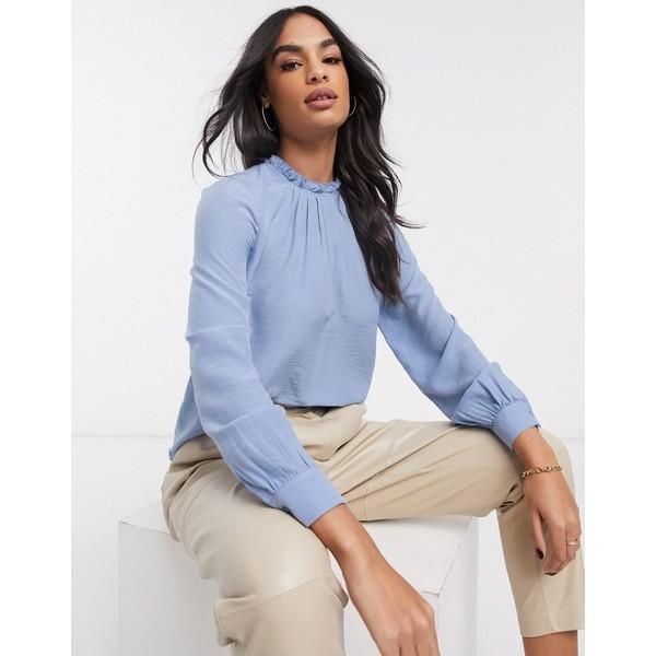 ウエアハウス レディース シャツ トップス Warehouse ruffle neck blouse in blue Blue