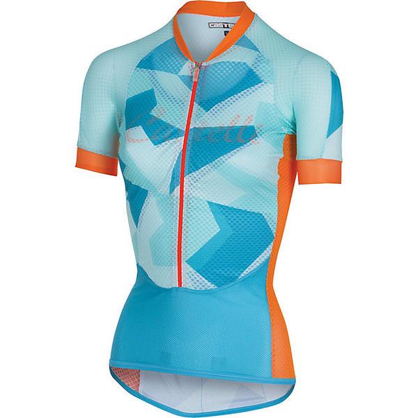 カステリ レディース シャツ トップス Castelli Women's Climber's Jersey Sky Blue / Orange Fluo