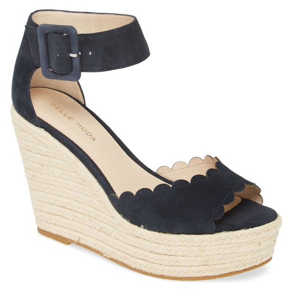 ペレモーダ レディース サンダル シューズ Pelle Moda Rica Platform Wedge Sandal (Women) Midnight Suede