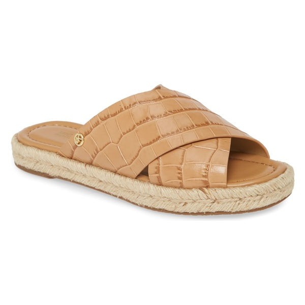 マイケルコース レディース サンダル シューズ MICHAEL Michael Kors Linden Slide Sandal (Women) Suntan Embossed Leather
