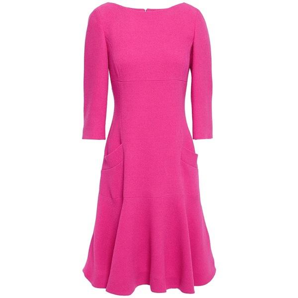 オスカー デ ラ レンタ レディース ワンピース トップス Flared ruffled wool-twill dress Bright pink