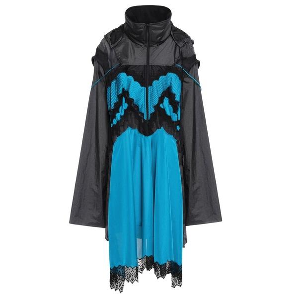 マルタンマルジェラ レディース ワンピース トップス Paneled shell, jersey and mesh hooded dress Azure