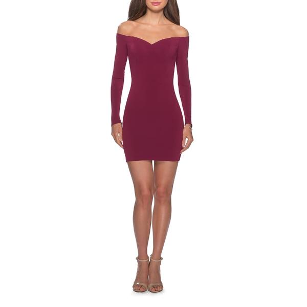ラフェム Off レディース ワンピース トップス Sleeve La Femme Body-Con Off the Shoulder Long Sleeve Body-Con Minidress Dark Berry, monolab +design store:35413ea6 --- officewill.xsrv.jp