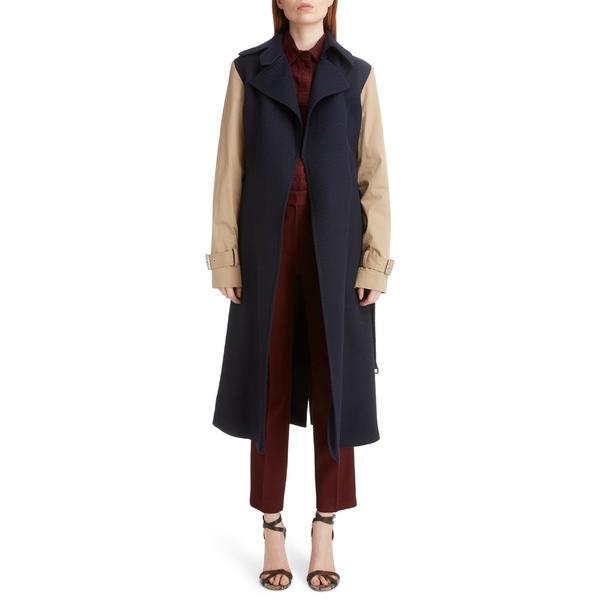 ヴィクトリア ベッカム レディース ジャケット&ブルゾン アウター Victoria Beckham Contrast Sleeve Coat Navy