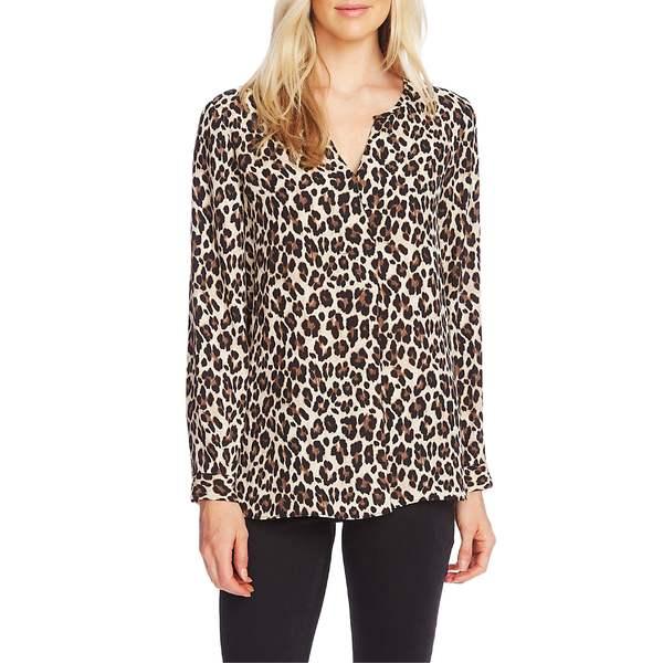 ヴィンスカムート レディース カットソー トップス Vince Camuto Split Neck Leopard Print Tunic Top Rich Black