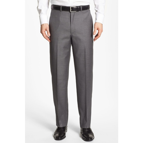 サントレリー メンズ カジュアルパンツ ボトムス Santorelli Luxury Flat Front Wool Dress Pants Medium Grey
