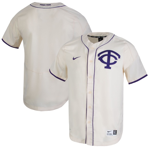 ナイキ メンズ ユニフォーム トップス TCU Horned Frogs Nike FullButton Vapor Performance Baseball Jersey Natural