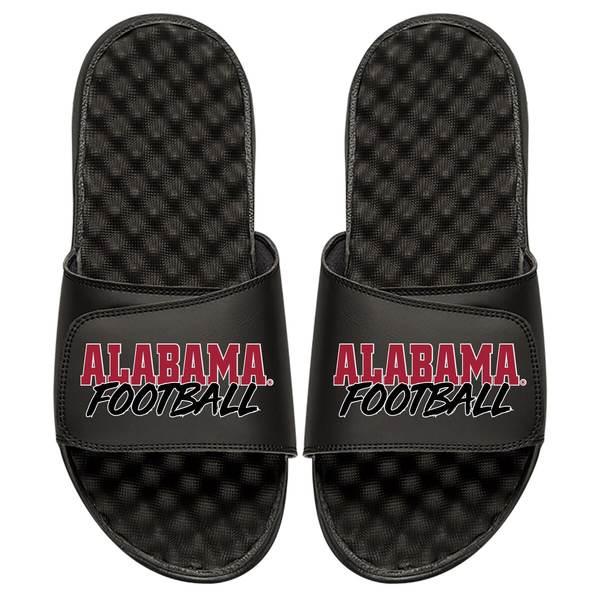 アイスライド メンズ サンダル シューズ Alabama Crimson Tide ISlide Football Stacked Slide Sandals Black