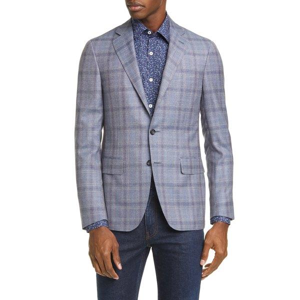 カナーリ メンズ ジャケット&ブルゾン アウター Kei Trim Fit Plaid Wool Sport Coat Grey